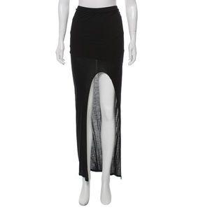 Helmut Lang Black Asymmetrical Maxi Skirt